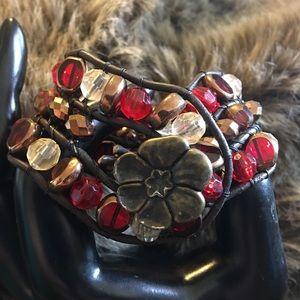 Handmade antique button leather cord bead bracelet